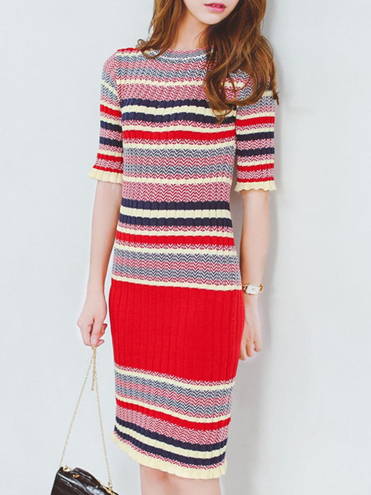 Red Contrst Stripe Half Sleeve Knitted Bodycon Dress
