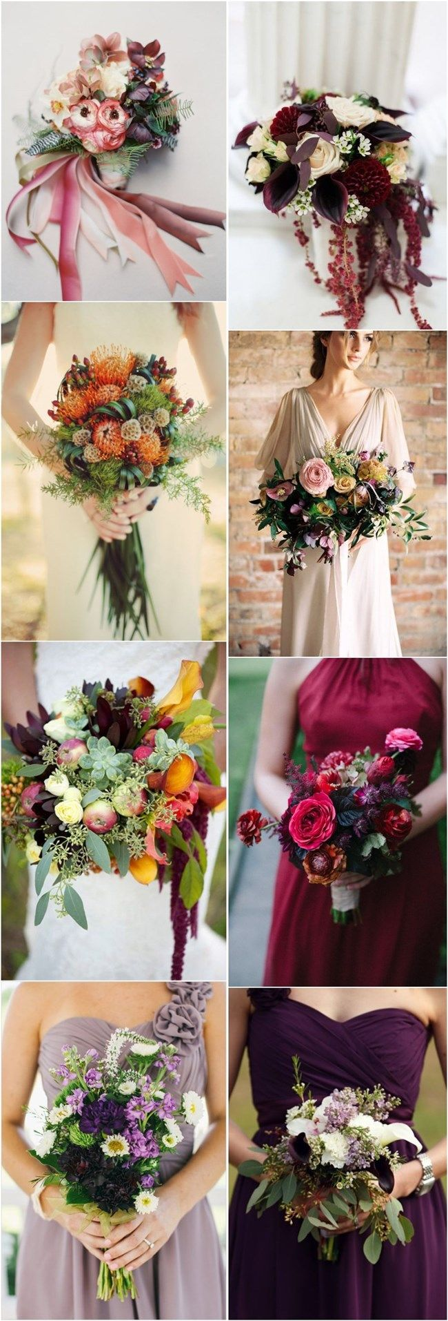 Wedding flower bouquet ideas for Fall / Autumn brides, featuring red, orange, yellow and purple.