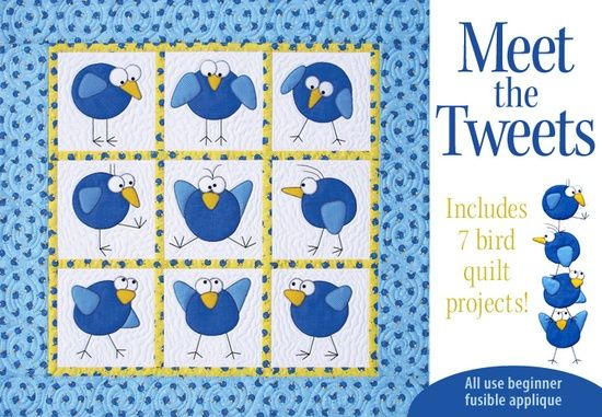 -- This fun pattern includes 7 bird quilt projects that all use beginner fusible applique..