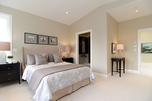 Pink Beige Carpet And Headboard Skirt Green Beige Walls Taupe Accent Pillows And Coverlet And