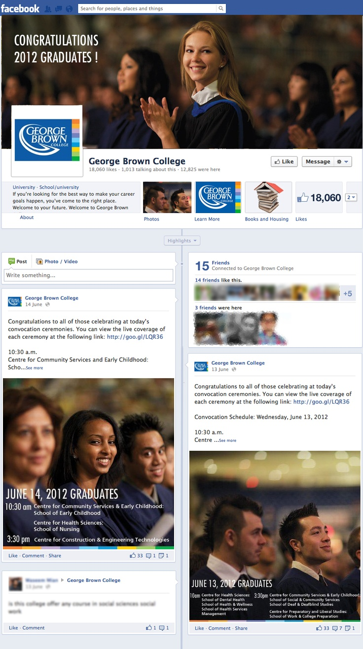 http://www.canadaes.com/diplomados.html The George Brown College Facebook Fan Page was created to engage and inform current and perspective students.