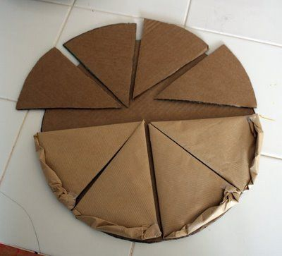 """Pizza Parlor in Dramatic Play, made out of cardboard and brown paper bags. Children can """"design"""" their own pizzas as an art project and then use in Dramatic Play. Nice idea!"""