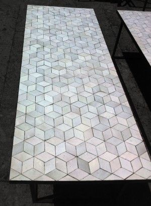 artetsud.com Table Zellige 160x60cm MOTIF CUBE P1