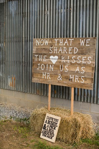 """Rustic wood wedding sign idea + wedding phrase - """"Now that we shared the kisses - join us as Mr. and Mrs."""" {Jasmine Rose Photography}"""