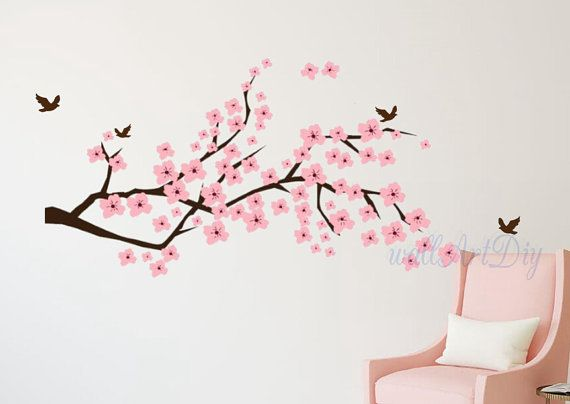 Cherry blossom wall decals Tree branch and birds wall stickers Pink wall murals Floral tree branch wall sticker Flying birds wall decals-1