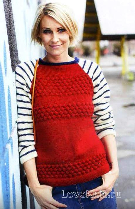 Схема вязание спицами модели и схемы цветной пуловер с полосатыми рукавами реглан