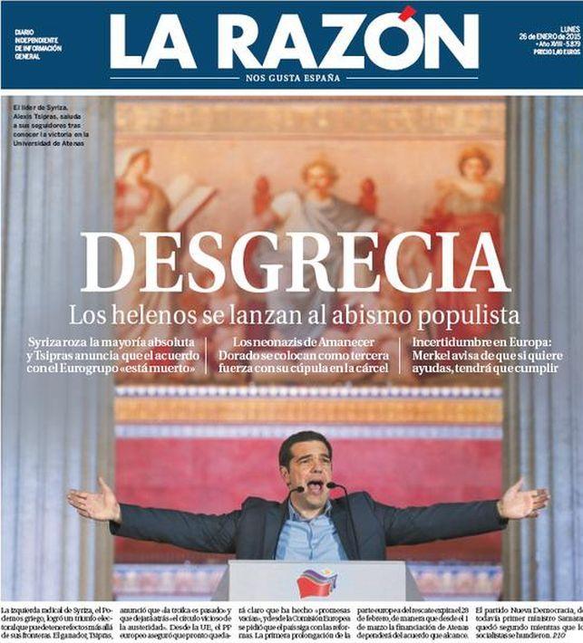 Portada de La Razón tras la victoria de la formación de izquierdas Syriza en las elecciones griegas