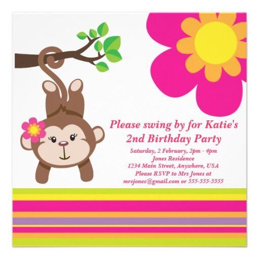19 best monkey birthday invitations for girls images on pinterest monkey girl pink birthday party invitation filmwisefo Choice Image