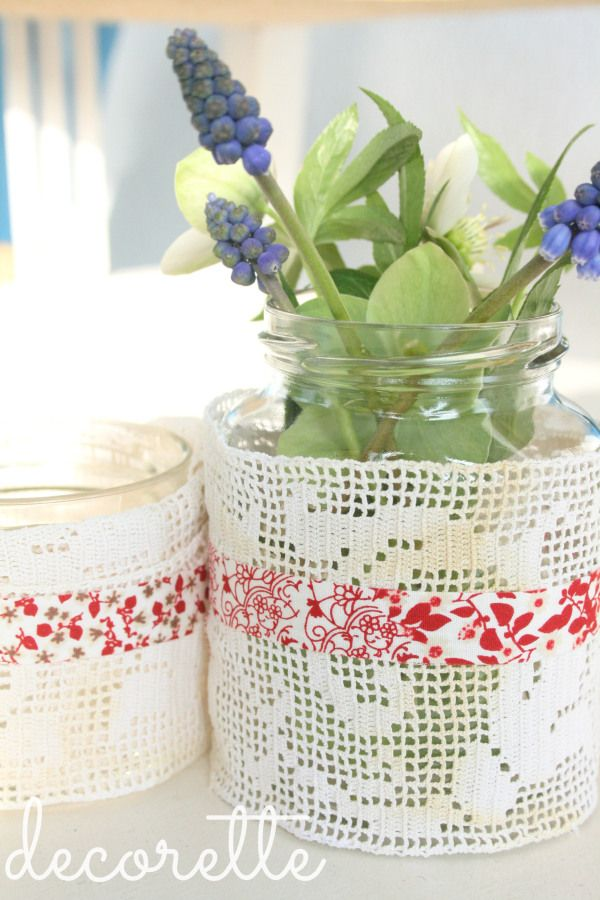 lace, jars and beautiful spring flowers