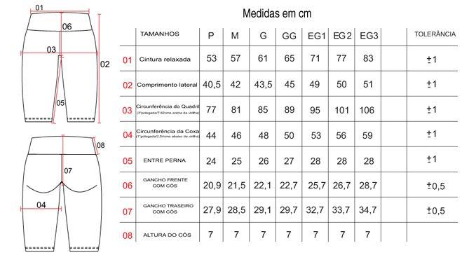Tabela de Tamanhos/Medidas Bermuda Ciclista Feminina
