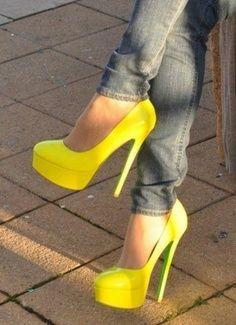 beautiful neon high heels