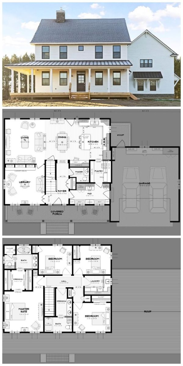 Ideal Family Home Practical Layout Open Floor Plan Wraparound Porch Double Garage Fireplace Mud Room L House Plans Farmhouse House Plans Farmhouse House