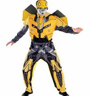 Rubies Transformers Bumble Bee Costume - Extra Printed. long sleeved jumpsuit with yellow. black and grey design. Detachable EVA chest piece. Includes injection moulded Bumble Bee face mask. Keep away from fire. EAN: 883028028085. http://www.comparestoreprices.co.uk/fancy-dress-costumes/rubies-transformers-bumble-bee-costume--extra.asp