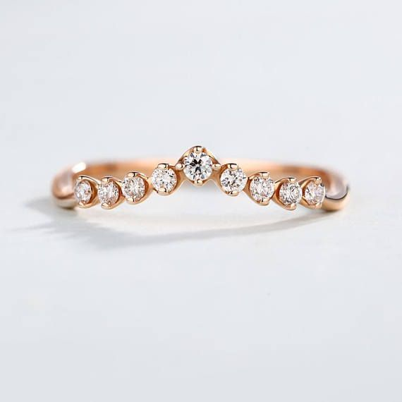 Art Deco Antique Diamond Wedding Band Rose Gold Curved Stacking