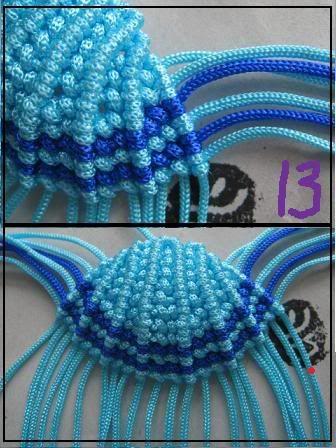 貝型のストラップ  材料リリアン糸 40cmx16本 20cmx2本  まず 結びの編み方を参考してください      にほんブログ村【小娘の手芸】