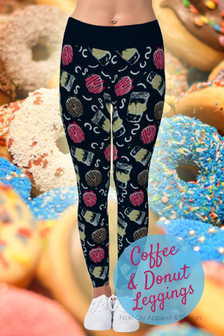 Coffee & Donut Leggings - Hold on a minute, java!  The best part of waking up is now putting on these cute coffee cup print leggings!  This print features coffee cups and donuts making for a super-cute combination! Get yours now and start your day right! #coffeeleggings #donutleggings #coffeelover #coffelovers #coffeeaddict #coffeeloversunite #coffeeanddonuts #donutsquad