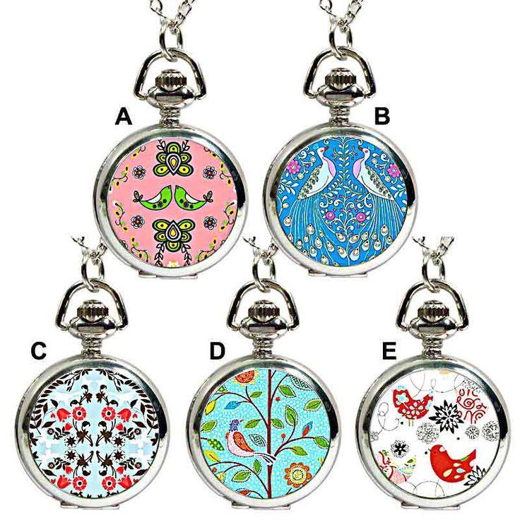 Ask Alice Folk Art pendant fob watch necklace.