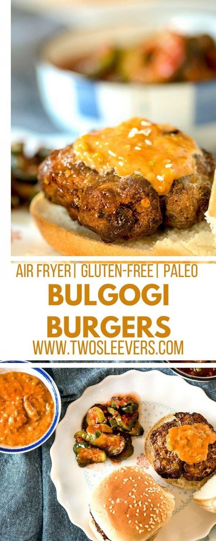 Bulgogi Burgers | Beef Bulgogi | Korean Burgers | American Korean Recipe | Air Fryer Burgers | Korean Burger Recipe | Two Sleevers #koreanamerican #koreanburger #bulgogiburger via @twosleevers