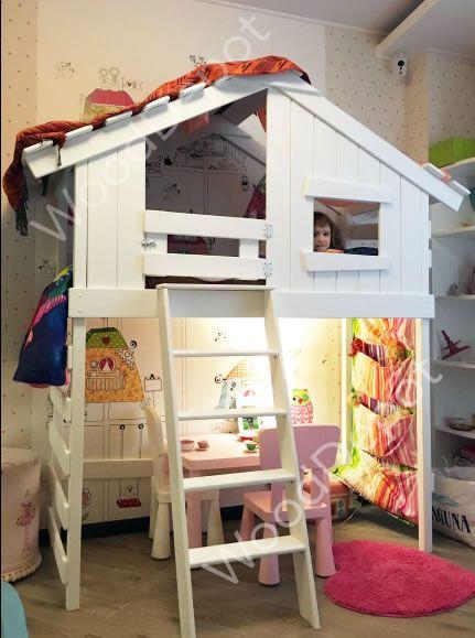 Детский домик / детская кровать чердак, игровой детский домик, деревянная кровать чердак, Домик для детей