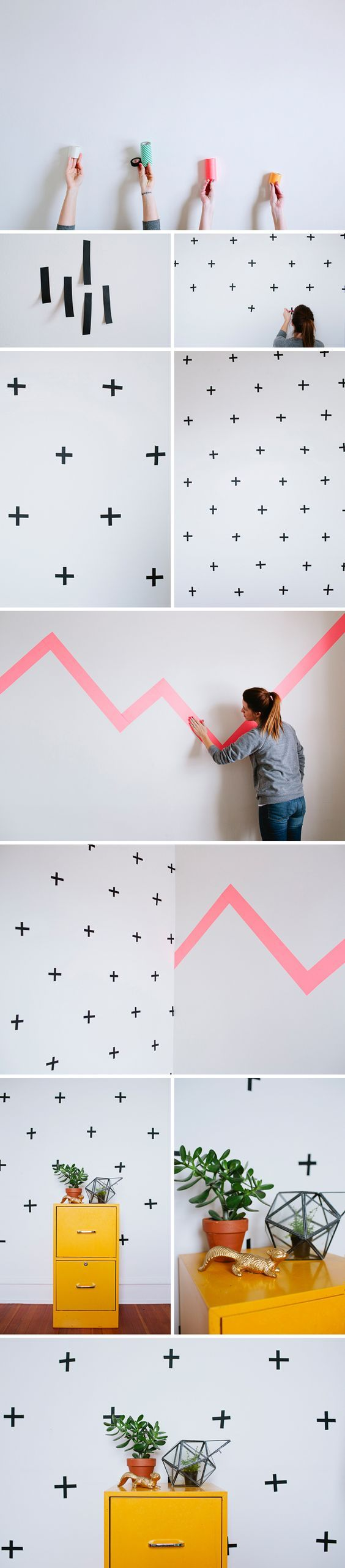 This DIY is super easy and super awesome. All you need is some Washi Tape and a wall and you are good to go! We sell 15mm, 50mm, and 100mm at the store in a crazy amount of colors and patterns! The possibilities are endless! Supply List: + washi tape + empty wall! 1. Clear out and wipe down the wall you'd like to use. I'd suggest testing a piece of tape on your wall prior to taping your entire wall. Sometimes certain colors don't stick to certain walls. You won't know until you try it. 2....