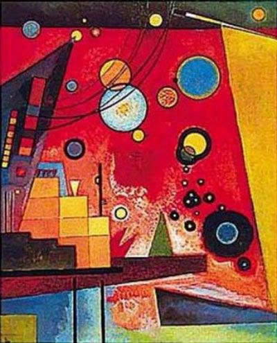 Wassily Kandinsky. I am imagining a Kandinsky inspired piece with a sky much like this one involving circles and bright colors and adding a city scape in the forground which would be seperated into shapes as well.