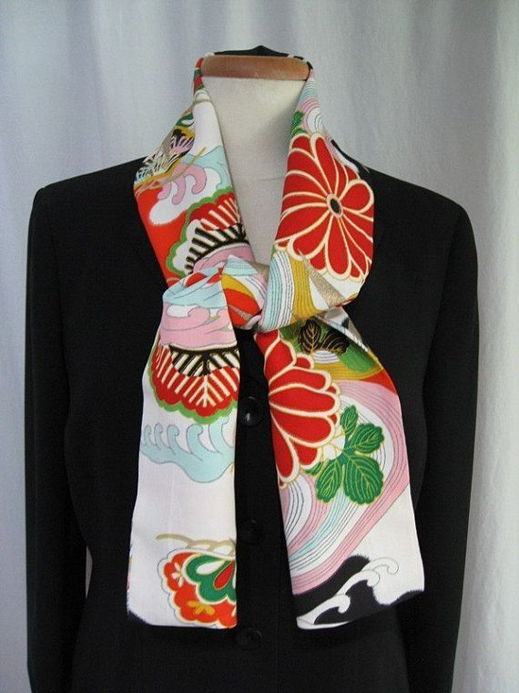 """Silk Scarf Made From Vintage Japanese Kimono Fabric Red """"Lively and Bright #1"""""""