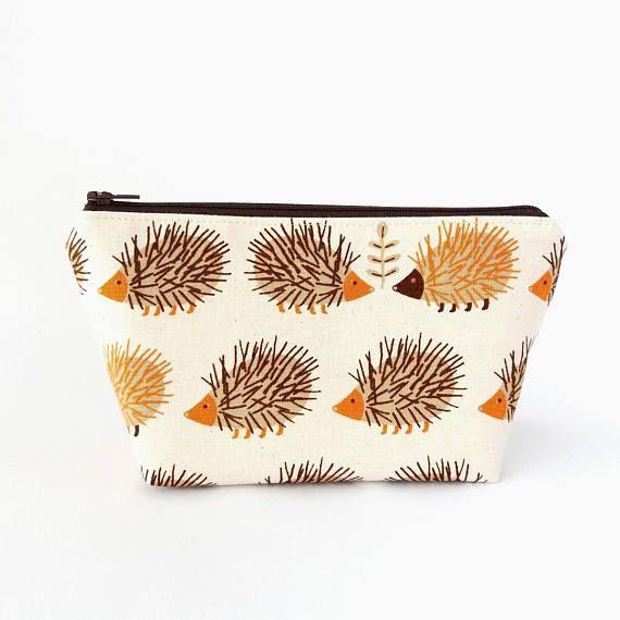 Makeup bag Cute makeup pouch Hedgehog zipper pouch Small