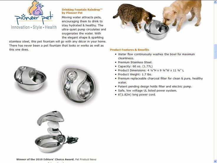 Click http://petproductsonline.info/pioneerpetstainlesssteelfountain To Learn More About The Pioneer Pet Stainless Steel  Fountain Raindrop Design