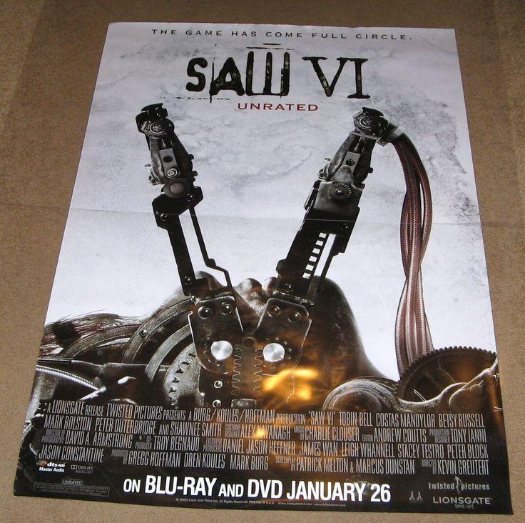 Saw VI (Saw 6) Movie Poster 27x40 Used Jon Mack, Darius McCrary, Angus Macfadyen, Vickie Papavs, Athena Karkanis, Betsy Russell, Shawnee Smith, Shauna MacDonald, Bahar Soomekh, Marty Moreau, John Watson