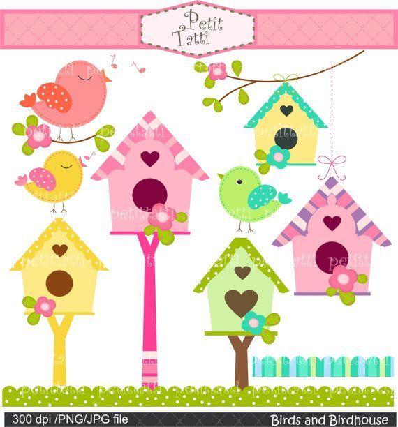 Digital clip art., instant download bird clip art, Birds and Birdhouse, Birds, flowers,birdhouse