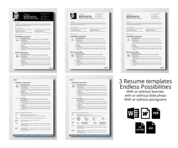 3 professional resume templates - 2 pages (word Professional - killer resume template