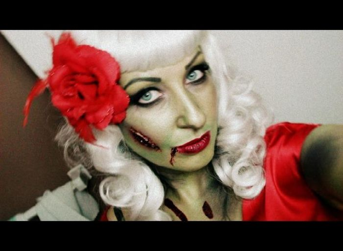 zombie pin up girl costume. Wigs compliments of http://www.voguewigs.com/pin-up-costume-wig-jon-renau.html