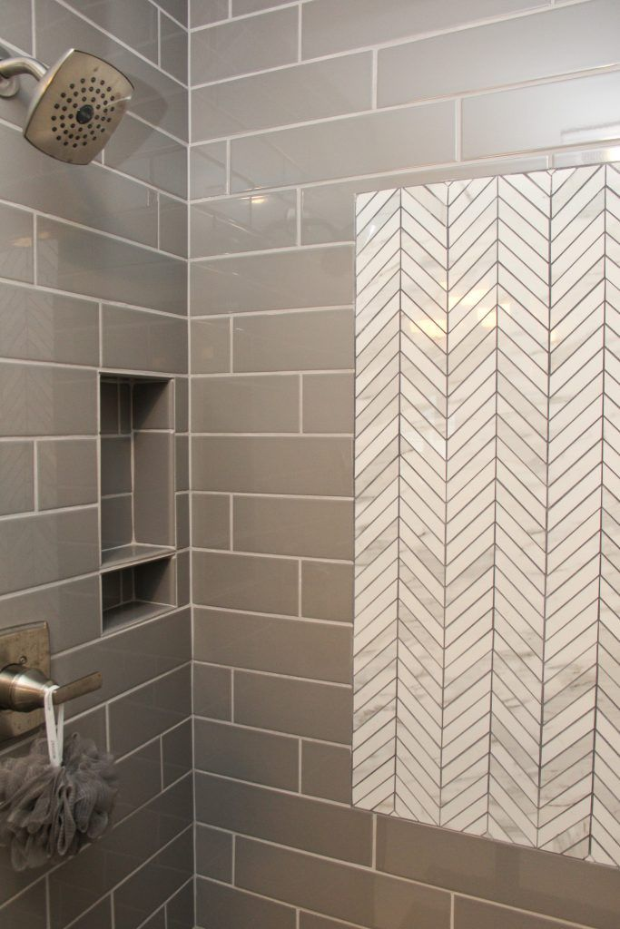 Gray Tiled Shower With Accent Chevron White Tile Tile Accent Wall Tile Accent Wall Bathroom Shower Tile