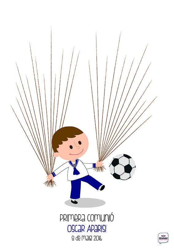 Cuadro de huellas estilo futbolero