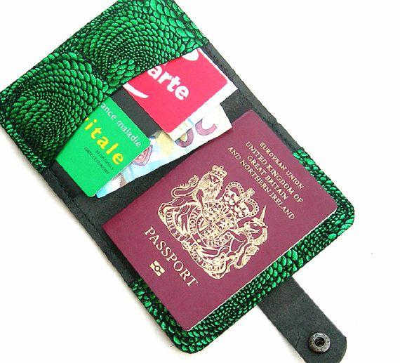 Black leather passport holder. Leather passport by HoneysuckleBarn