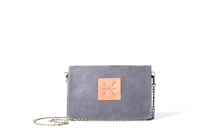 Clutch bag with detachable chain: main body  is made of the best quality natural leather (nubuck) Inside: pocket for mobile,lining, key leash. Zipped pocket on the back.  Accessories in antique gold color. Colorful pendant/tassel. Color - grey.