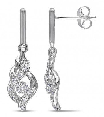 10k White Gold 1/6 CT Diamond TW Ear Pin Infinity Earrings, GH I2-I3