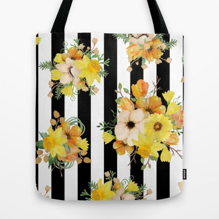 Yellow Vintage Floral on Black Stripes Tote Bag by The Willow Wood Studio | Society6