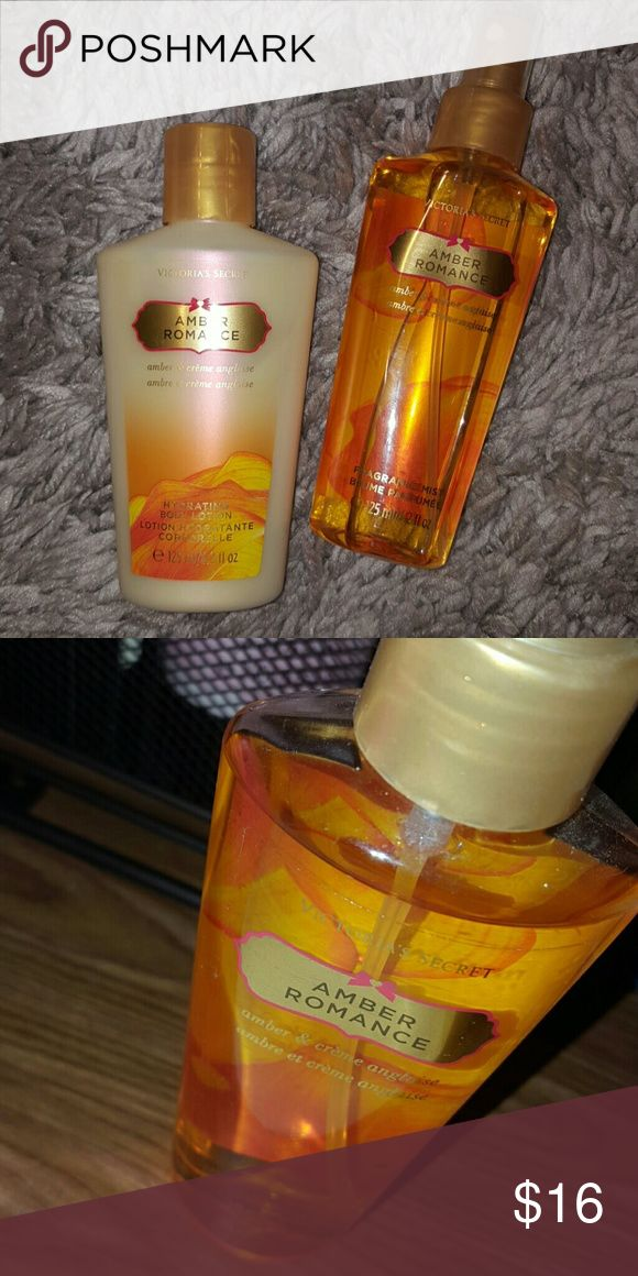 VS amber romance Amber Romance lotion and spray 4.2 oz I love this I forgot how good it smells when I pulled it out to take pictures for you lovelys!  Products for only used a few times still very full! 👉 firm on price  unless bundled 😙😘 Victoria's Secret Makeup