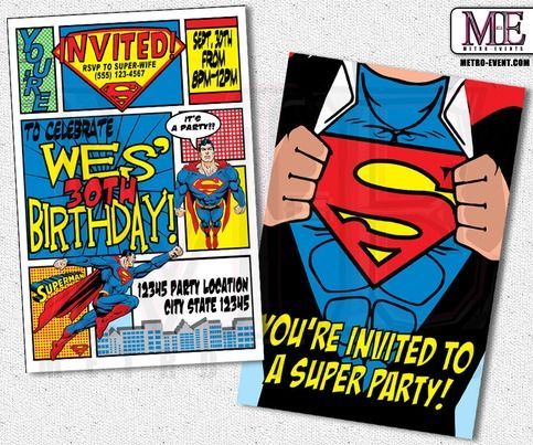Superman Birthday Invitations, Superhero Invitation, Super Man Invitation, Superman Party Invitations, Superman Party, Invitations, Invite | Metro Events | Online Store Powered by Storenvy by MetroEvents