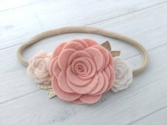 Blush Wool Felt Rose Trio Headband- Nylon Headband- Baby Headbands- Baby headband
