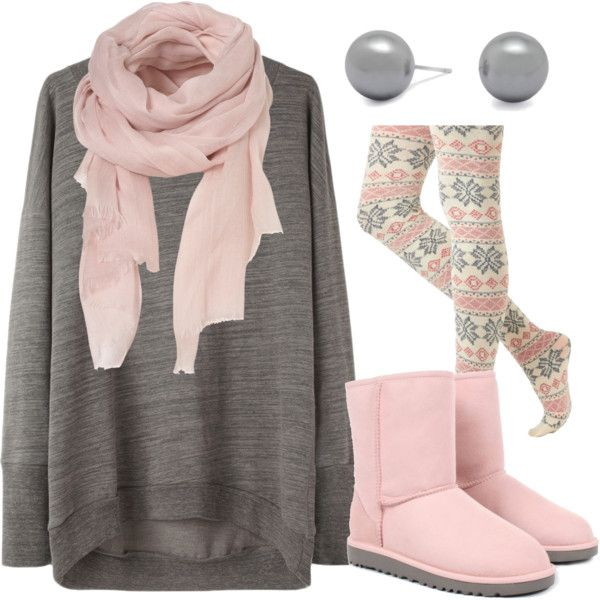 Polyvore Cozy Toesies Look. Wintery, Girly and Comfy! Love the tights!