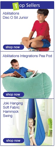 """""""Abilitations: A Website for Teacher Special Education Supplies""""  -Focus on sensory and movement approaches.  Items for purchase  -Easy to navigate and can shop by category. You will find the tools and equipment you need for adapted literacy, handwriting, balance, mobility, positioning, furniture, play, communication, sensory solutions, fine motor, oral motor, and body works."""""""