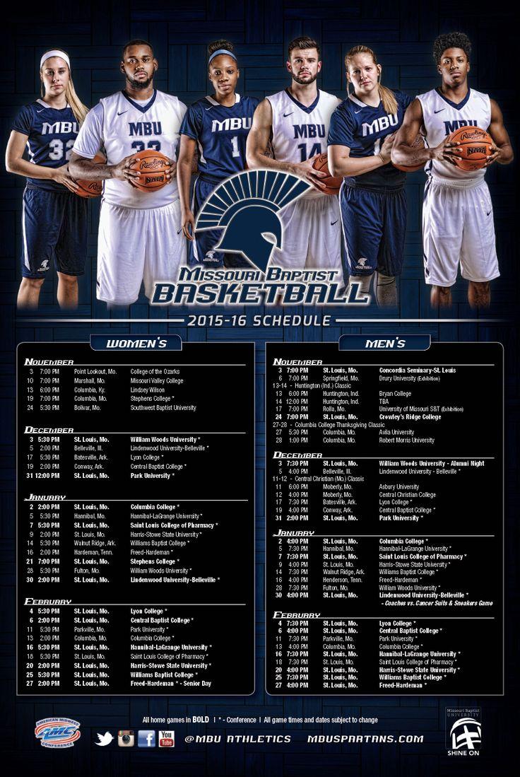 Missouri Baptist Basketball schedule poster