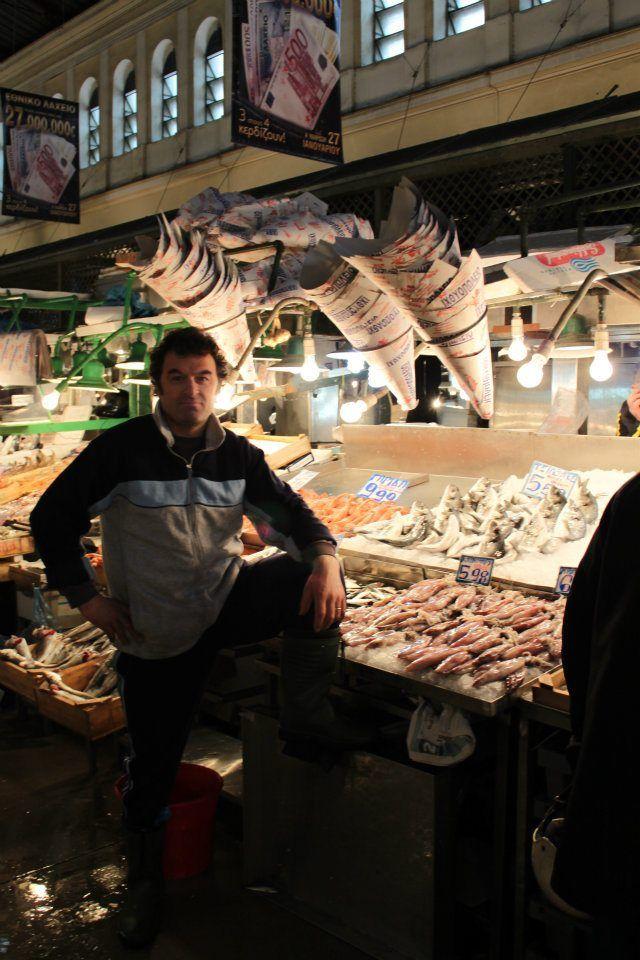Proud fisherman atthe Athens Public Market