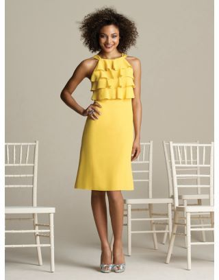 Cute Chiffon High Round Neck Tiers Hot Yellow Bridesmaid Dress