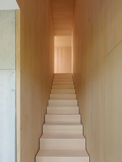 Interior shot of a house that features a kinked facade