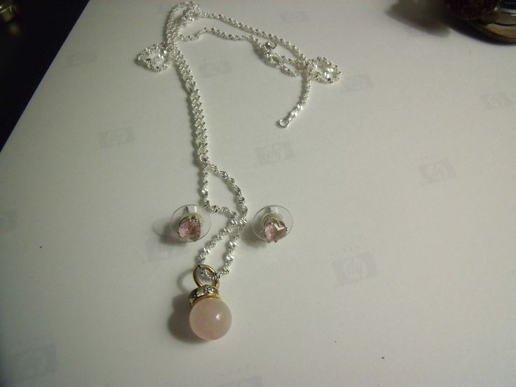 Rose Quartz Necklace Sterling Silver .925 Chain/Pendant & Matching Earrings for  | eBay