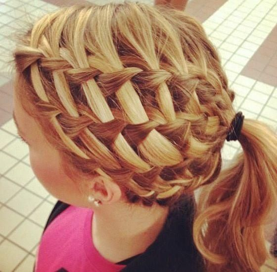 Waterfall braids stacked into a woven basket