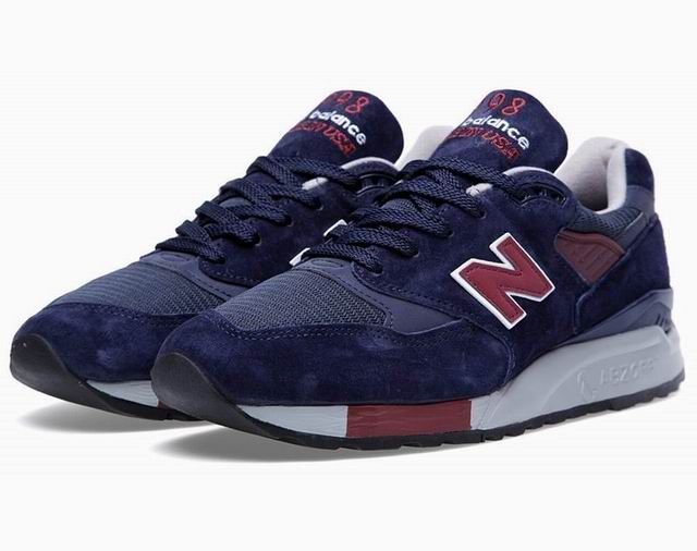 wholesale dealer 26d51 dd858 Newest New Balance 998 Navy Burgundy Mesh Suede Mens Shoes
